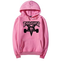 Thrasher Fashion skateboard leisure loose hooded sweater Pink 10 color