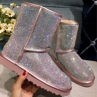 DCCK UGG pearl rhinestone warmth in the tube snow boots pink