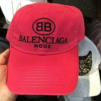 Balenciaga Stylish Unisex Letter Embroidery Sport Sunhat Embroidery Baseball Cap Hat Red I-GQHY-DLSX