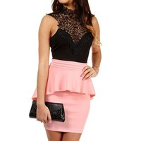 Black/Pink Crochet Peplum Dress