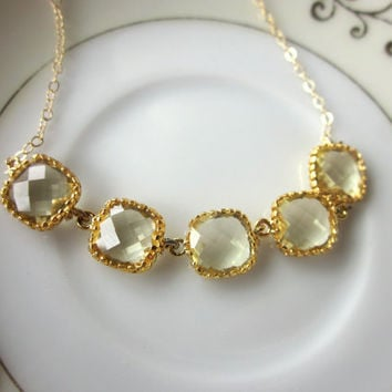 Citrine Necklace Gold Yellow Squares - Gold Filled Chain - Wedding Jewelry - Bridesmaid Jewelry - Bridesmaid Necklace - Valentines Day Gift