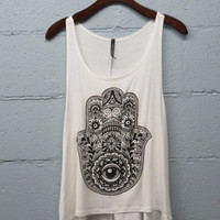 Hand with Eye  Sleeveless Top-SIZE LARGE ONLY