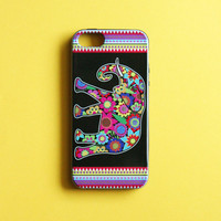 Floral Elephant iPhone 5 iPhone 5s Case - Colorful Flower Elephant Design Cell Phone Protective Case Flower Elephant Jungle Tribal Cute Teal