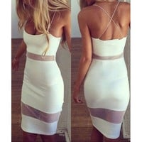Solid Color Bandage Stitching Dress