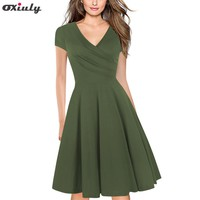 Oxiuly Womens Sexy Elegant Short Sleeves Work Business Office Casual Party Fit and Flare Swing Skater A Line Dress