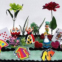 Alice in Wonderland Birthday Cake Topper Set Featuring 5 Alice in Wonderland Figures and Decorative Themed Accessories