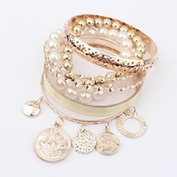 Aokdis Korean Style New Fashion Hot Girls Lady Women Exquisite Coin Pearl Hollow Bracelet Jewelry (White)