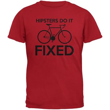 Hipsters Do It Fixed Red Adult T-Shirt