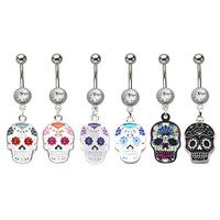 """14g 7/16"""" Press Fit Clear Gem Navel Barbell with a Sugar Skull Dangle Charm, white/purple/clear; sold individually"""
