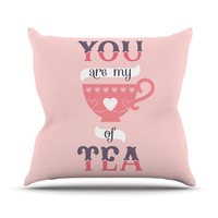 """Daisy Beatrice """"My Cup of Tea"""" Pink Purple Throw Pillow"""