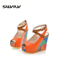 Hot Sale Summer European Fashion Women's Wedges Sandals High Heels Platform Open Toe Ankle Straps Shoes Summer Pumps