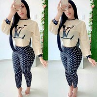 LV Tide brand female print sports suit two-piece