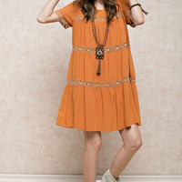 Orange Mineral Wash Dress