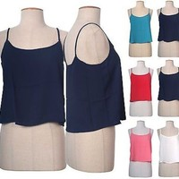 Sexy Spaghetti Strap Scoop Neck Cropped A-Line Camisole Shirt Loose Tank Top