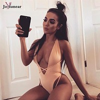 Joyfunear Bandage Hollow Out Backless Bodysuits Sundress Sexy Halter Bodycon Rompers Womens V-Neck Jumpsuit Overall Catsuit