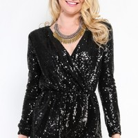 Evening Out Sequin Romper | MakeMeChic.com