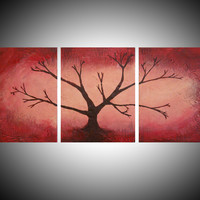 "ARTFINDER: triptych 3 panel wall art color red pink brown tree in wood  "" The Red Forest "" 3 panel wall abstract canvas abstraction 54 x 24"" by Stuart Wright - ""The Red Forest "" red , pink ,brown tree,  in t..."