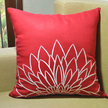 Red Pillow Cover, Decorative Throw Pillow Cover, Red Linen Pillow, White Sunflower, Embroidered Pillow Case,  Pillow Accent