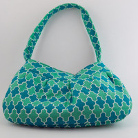 Small bag Green and Teal Moroccan Handbag with pleats Buttercup purse Unique Spring bag