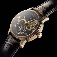 DCCK V043 Vacheron Constantin Dragons of China Hollow Leather Watchand Watch Black Gold
