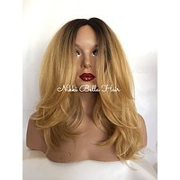 Dark Blonde Hair w/ Regrowth Human Hair Blend Multi Parting Lace Front Wig 14 inches