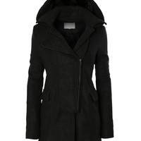 LE3NO Womens Fleece Double Breasted Pea Coat Jacket with Detachable Hoodie