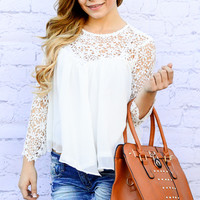 FRESH PICKED FLOWERS CHIFFON TOP IN WHITE