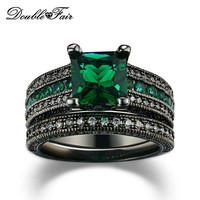 Cubic Zirconia Luxury Green Crystal Rings Sets Black Gold Color Engagement / Wedding Ring Sets Fashion Women Jewelry DFR689