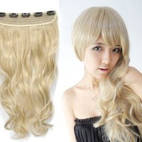 """One Fashionable 16"""" Long By 8"""" Wide Golden Blonde Curly Wavey Synthetic Clip on Hair Extension"""