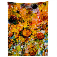 Ginette Fine Art Abstract Sunflowers Tapestry