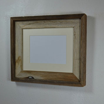 8x10  picture frame with off white mat for 5x7 or 8x6 photo or print. Handcrafted in the USA.