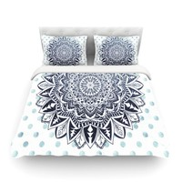 "Nika Martinez ""Dots Mandala"" Blue White Illustration Featherweight Duvet Cover"