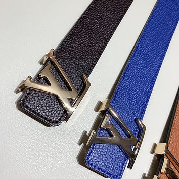 Louis Vuitton LV classic smooth buckle belt for men and women belt