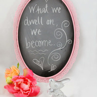 Vintage Ornate Framed Chalkboard, Upcycled Shabby Chic, Home Decor, Light Pink, Chalk Board Metal Frame, Cute Message Board, Repurposed