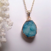 Geode Crystal Druzy Necklace - 24k Gold Plated edging - Turquoise