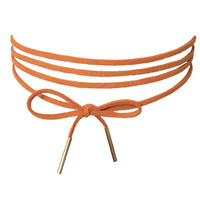 Suede Wrap Around Choker Necklace In Rust