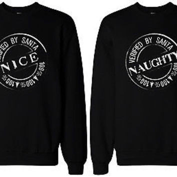 Naughty and Nice Sweatshirts for Best Friends BFF Matching Sweaters