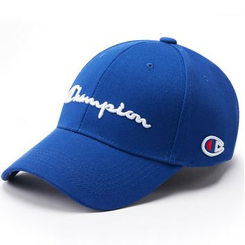 Champion Fashion New Embroidery Letter Women Men Sun Protection Cap Hat Blue
