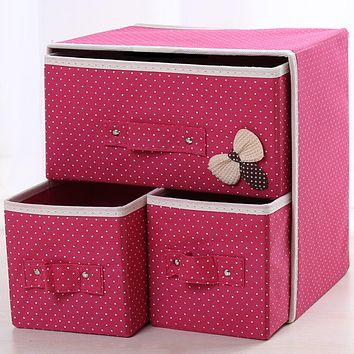 Multi Functional 3 in 1 Desk Storage Box Cute Vivid Dots Pattern Large Capacity Box For Home Office Organize Case Storage 2018
