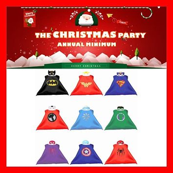 Kids Superhero Capes & Mask Costume Capes For Kids Spiderman Superhero Cape Cosplay for Kids Halloween Birthday Party 70cm*70cm