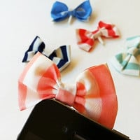 Candy Striped Fabric Bow iPhone Headphone Plug/ Dust by Pursius
