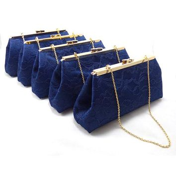 Set of Five Navy Blue and Champagne Bridesmaid Gift Clutches 5% Off
