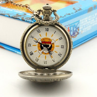 Steampunk Anime One Piece Cosplay Skull & Crossbones Pocket Watch Pendant Necklace