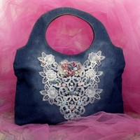 Retro Denim Roses pearls soft Handbag Blue denim embellished sac bag lace applique tote