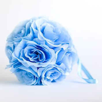 """BLOWOUT 6"""" Serenity Blue Rose Flower Pomander Small Wedding Kissing Ball for Weddings and Decoration"""