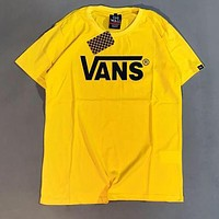 VANS Popular Women Men Casual Letter Print Round Collar T-Shirt Crop Top Yellow