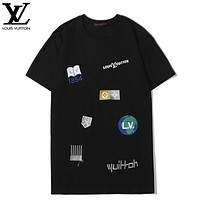 LV New fashion embroidery letter couple top t-shirt Black