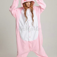 KIGURUMI Cosplay Romper Charactor animal Hooded Night clothes Pajamas Pyjamas Costume sloth  outfit Sleepwear-pink peppa pig