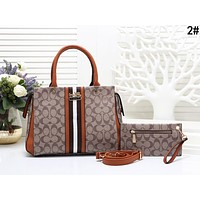 Coach Popular Women Leather Handbag Bag Shoulder Bag Crossbody Satchel Set Two Piece 2#
