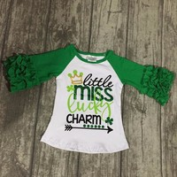 St Patrick baby girls three quarter cotton boutique cute top T-shirt raglans clothes little miss lucky charm ruffles shamrocks